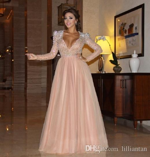 Arabic Dubai Kaftan Myriam Fare Pink Prom Dresses Party Gowns Shining Crystal Beaded Deep V Neck Formal Clothing Evening Celebrity Dresses