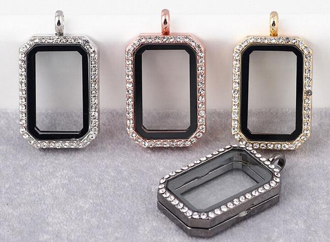 Lüks Takı 33 * 23 * 8mm Kare Fotoğraf Çerçevesi Manyetik Cam Bellek Yüzer Charms Yaşayan Madalyon Ince Paslanmaz çelik Takı Farklı Renk