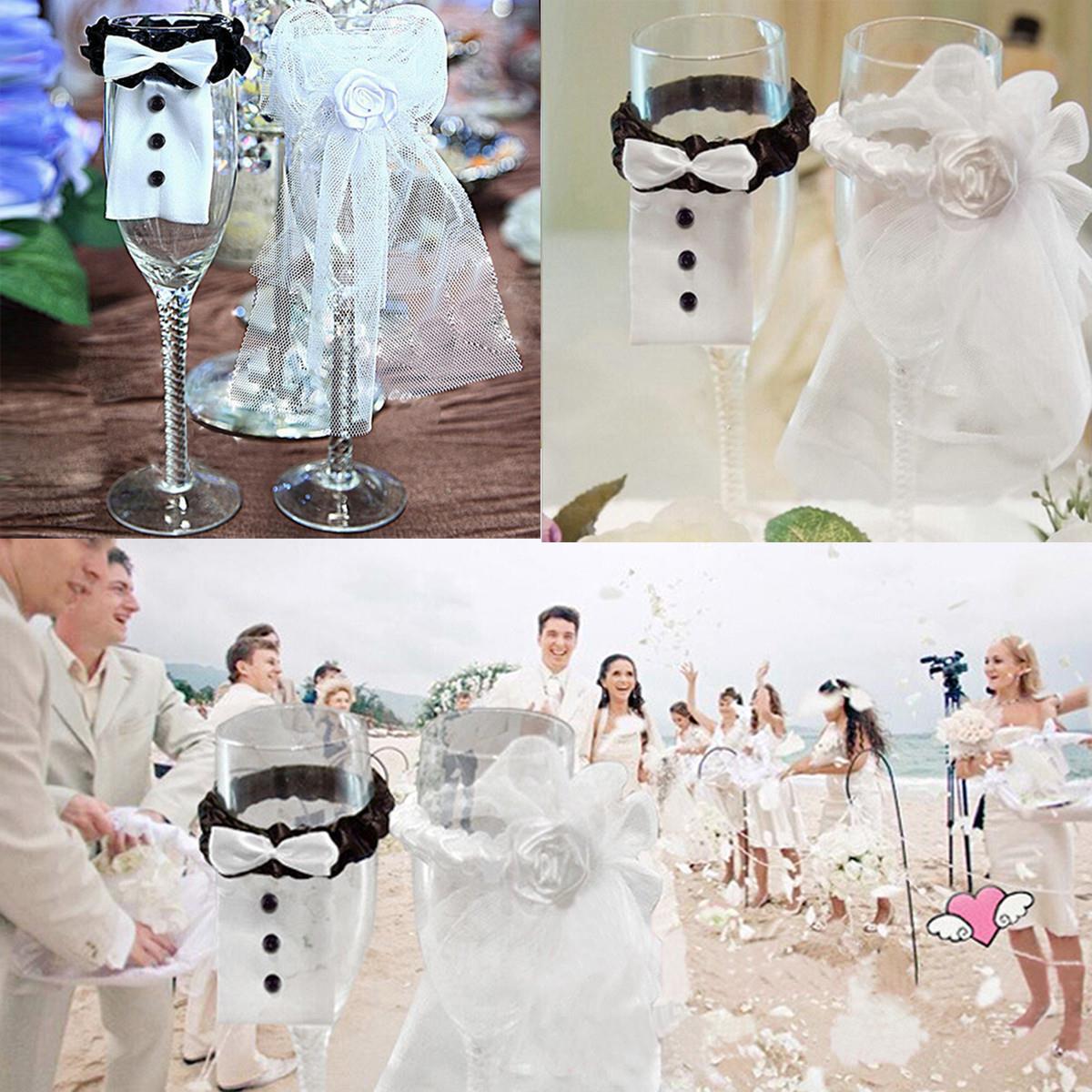 2018 Wedding Dress Mariage Decorations Bride Groom Wine Glass Decor ...