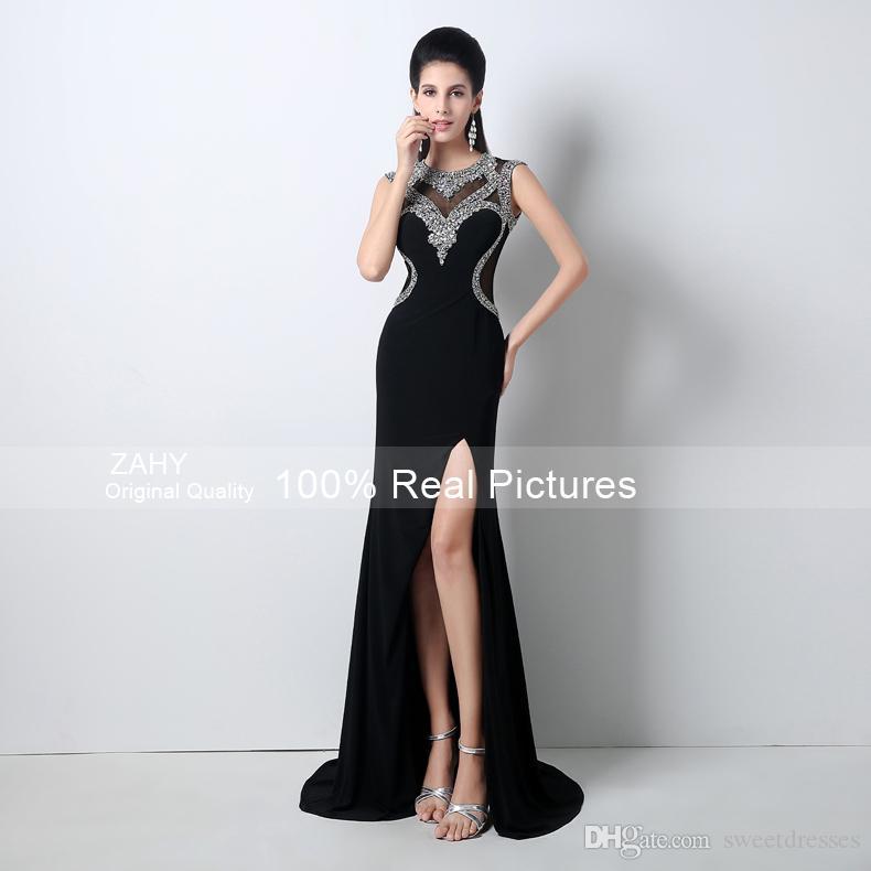 Amazing Designer Occasion Dresses 2015 Black Crystals High Neck ...