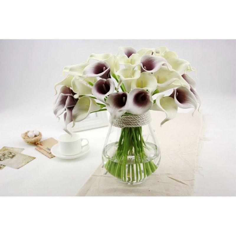 Nueva Calla Lilly flores falsas de plástico de seda lirio artificial Ramos para nupcial boda ramo decoración del hogar flores falsas es