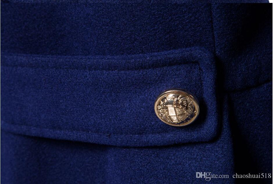 New men's metal double breasted coat winter men trench coat