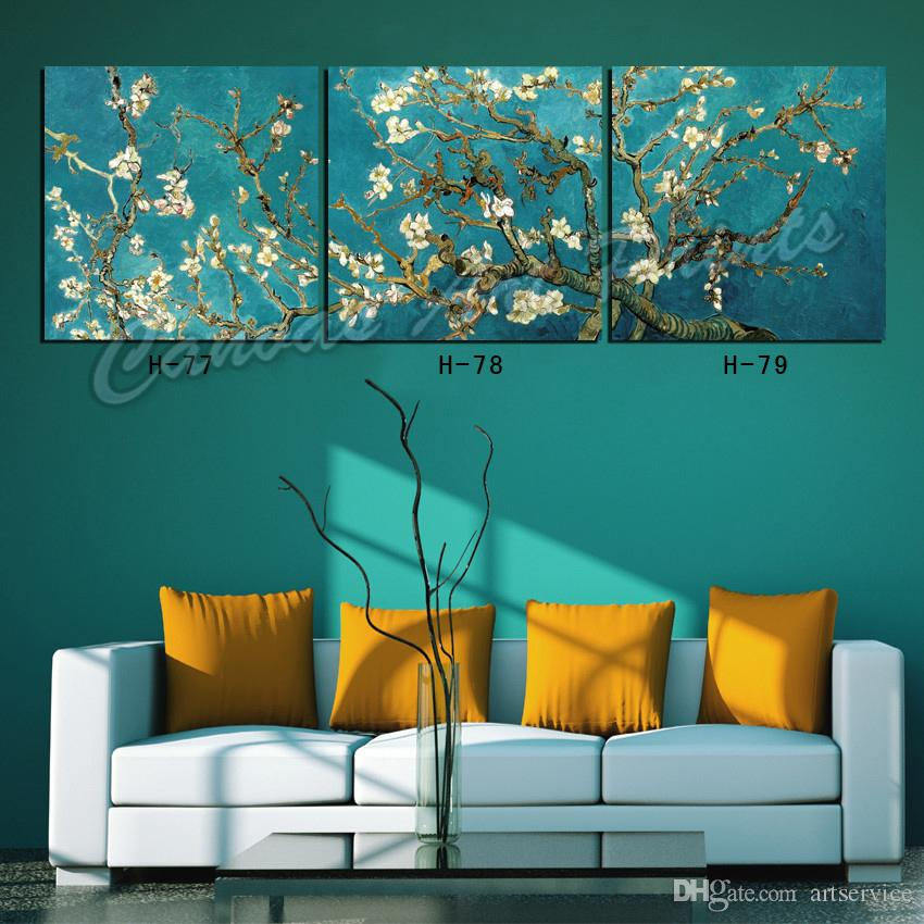 New Home Art Paintings Canvas Art Picture Van Gogh Apricot Flower Decorative Wall Painting Panel Frame for Living Room