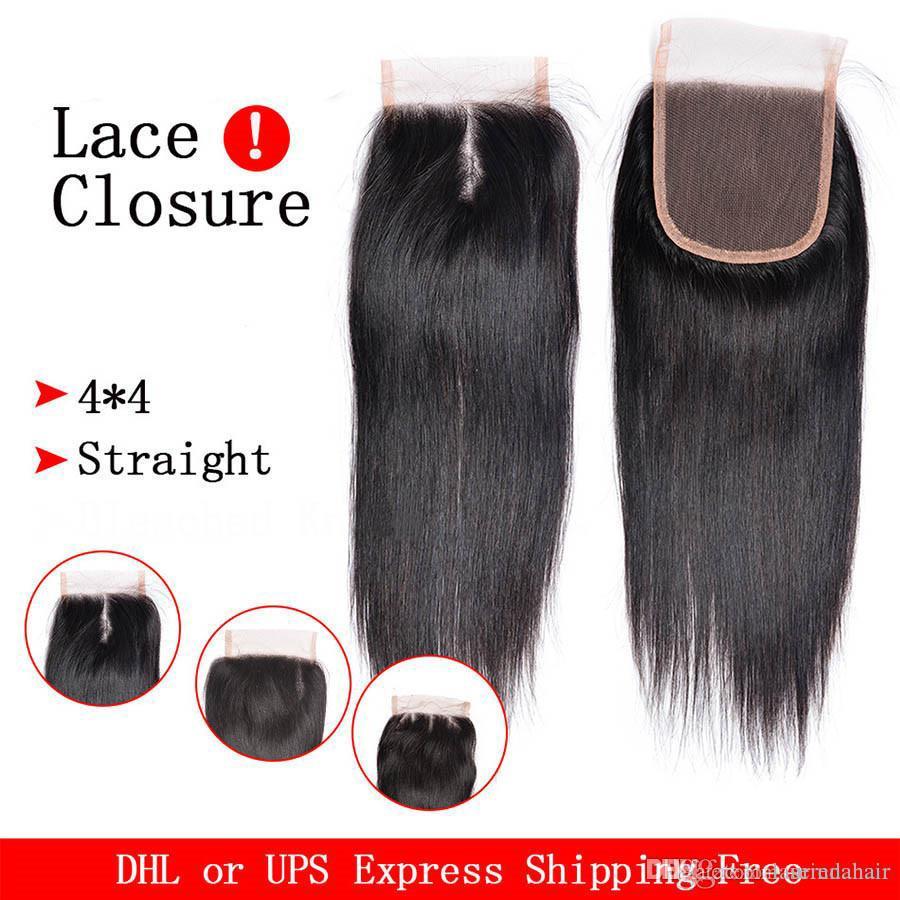 Malaysian Straight Hair Weaves With Lace Closure 4 Bundles 8A Unprocessed Malaysian Virgin Human Hair Bundles Deals Natural Color
