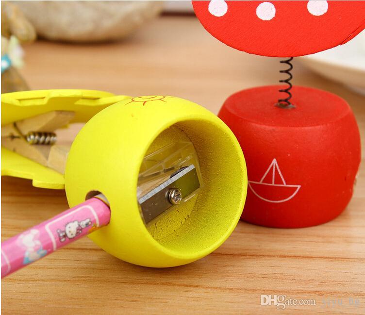 Clip en bois Kawaii taille-crayons coupe-crayon papeterie scolaire trucs bureau drôle fournitures créatives bureau accessoires