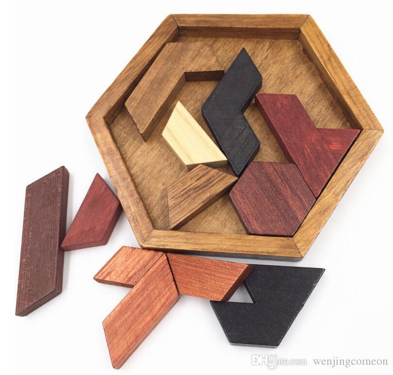 Çocuklar Bulmacalar Ahşap Oyuncaklar Tangram Yapboz Kurulu Geometrik Şekil Eğitim Beyin IQ Oyunları Bulmaca Eğitici Oyuncaklar Çocuklar için Noel Hediyesi