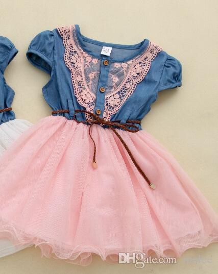 2016 Kız Denim Tutu Elbiseler Yaz Çocuk Kısa Kollu Çiçek Dantel Blet Kovboy Net Iplik Casual Elbise Via DHL Fedex UPS Ücretsiz Gemi