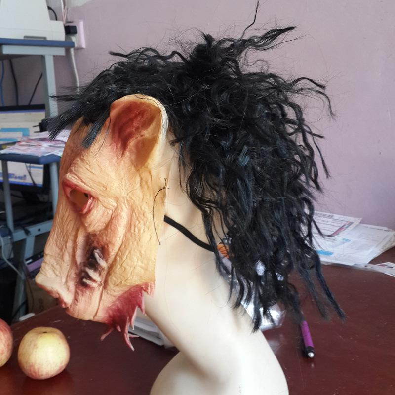 2015 New Saw 3 Pig Scary Mask decorations and props ,Adults Full Face Animal Latex Masks Halloween Horror Masquerade Mask With Hair