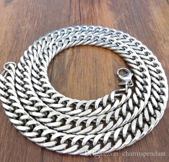 23 '' + 8.7 '' New 316L Stainless Steel Jewlery Set 9mm largo Curb Chain Link bracciale collana moda uomo gioielli regali tono argento