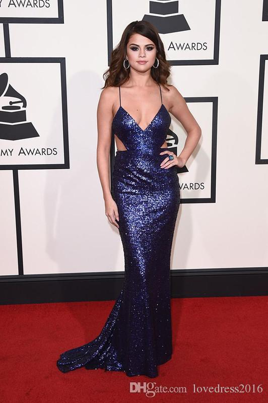 Celebrity Selena Gomez Red Carpet Gowns Spaghetti Cutway Sides Sexy Sirena Prom Dresses Lungo Criss Cross Back Sexy abito da sera