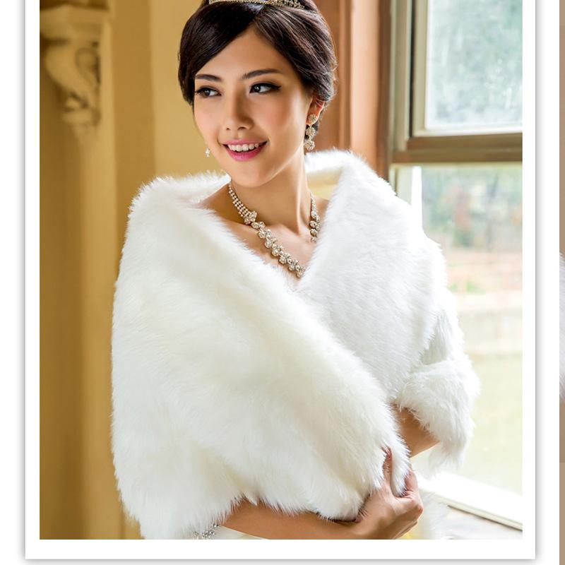 2018 High End Bride Bridesmaid White Shawl Wedding Dress Warm Winter Thick Wool Faux Fur Pearl Shrug Capes Stole Wraps Shawls From