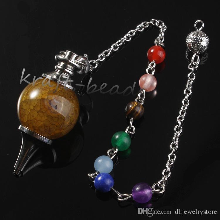 Comercio al por mayor 10 Unids Natual Silver 7 Granos de Piedra Cadena de Cuarzo Mezclado Ágata de Piedra Punto de Curación de Chakra Dowsing Pendulum Pendant Jewelry