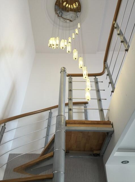 K9 Crystal Staircase Lights Rod Spiral Ceiling Light