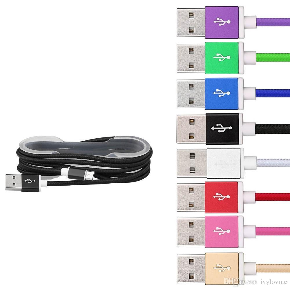 Cavo micro USB Cavo in nylon intrecciato resistente Cavo di sincronizzazione dati caricatore arrotolato Cavo telefoni cellulari Samsung Galaxy Spedizione gratuita