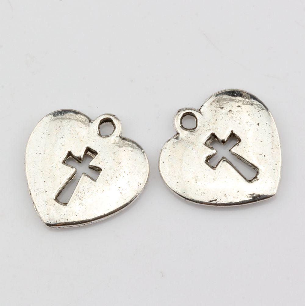 Caldo ! argento antico cuore liscio con croce aperta pendenti con pendenti gioielli fai da te 17mm