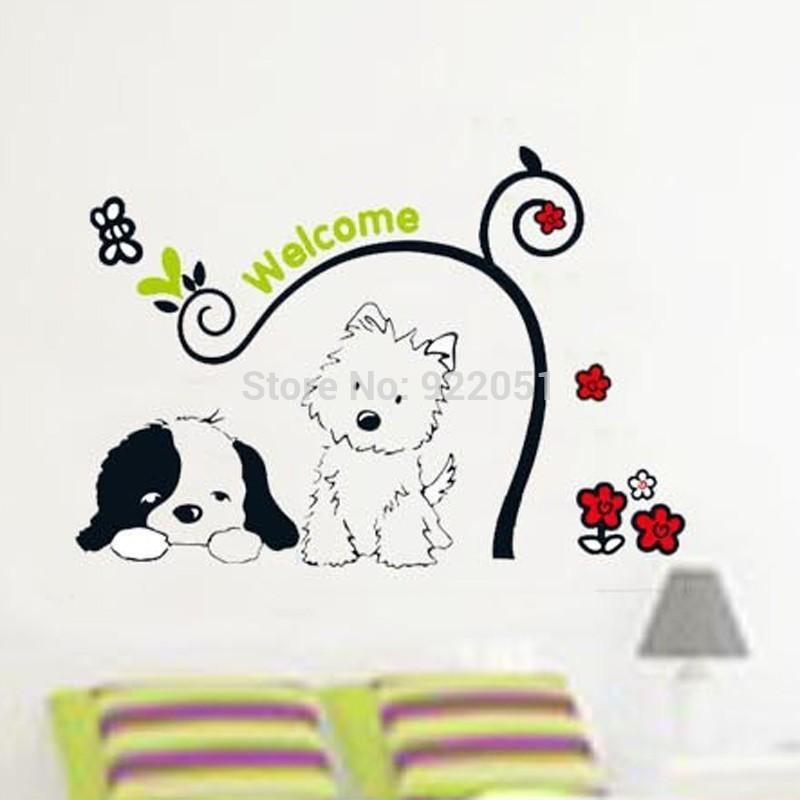 tc1095 cute cat dog flower rattan wall stickers kid's room