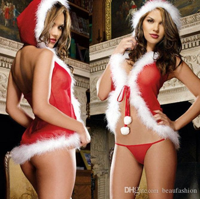 6609c8b25 Sexy Christmas Costume Santa Hooded Sexy Red Little Red Riding Hood  Christmas Lingerie For Halloween Hollywood Theme Party Costumes Group  Halloween Costumes ...