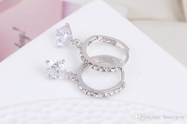 Orecchini di cristallo austriaco le donne Oro argento 925 Brinco Orecchini da sposa Bijoux Femme Orecchini gioielli di moda Grandi orecchini