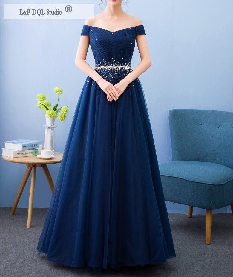 Vestido de formatura azul marinho