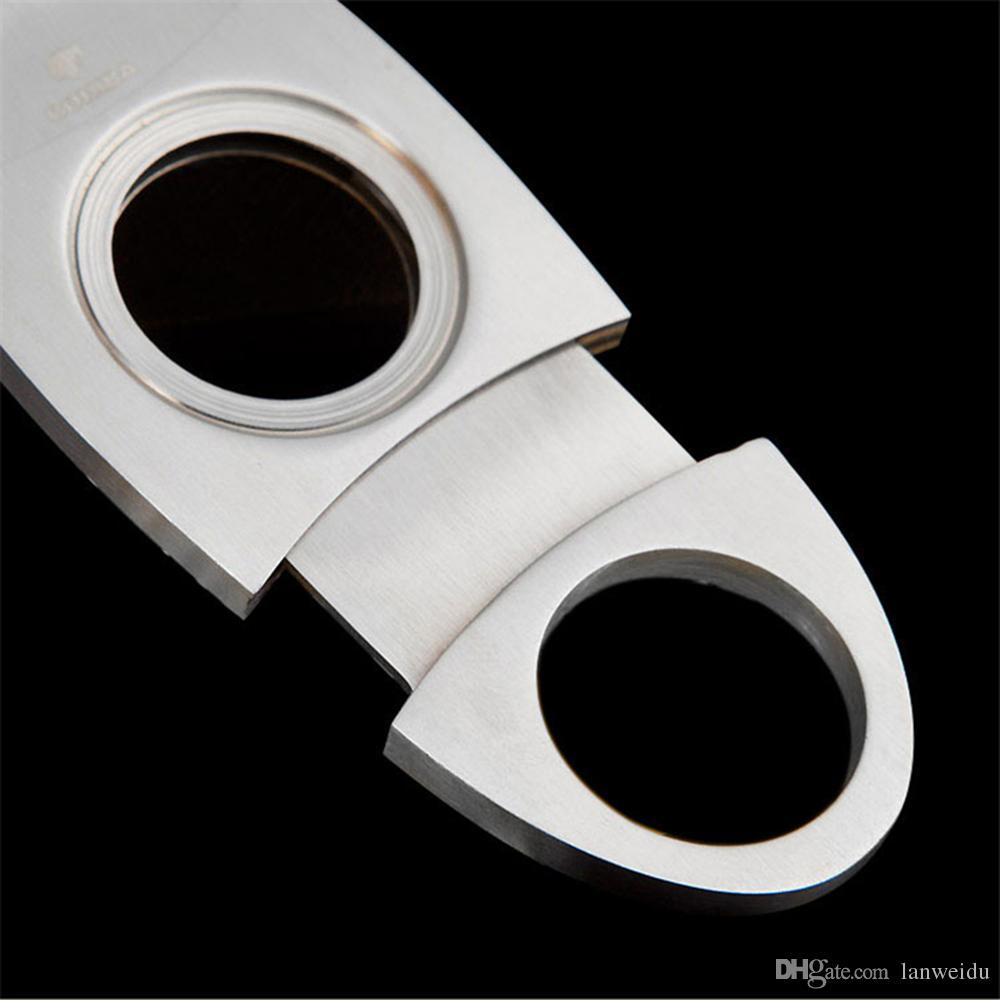 COHIBA Moda Yüksek Dereceli Taşınabilir Gümüş Paslanmaz Çelik Puro Kesici Bıçak Makas Kesim Tütün Puro Cihazları ile Kutusu Cep Boyutu Bıçak