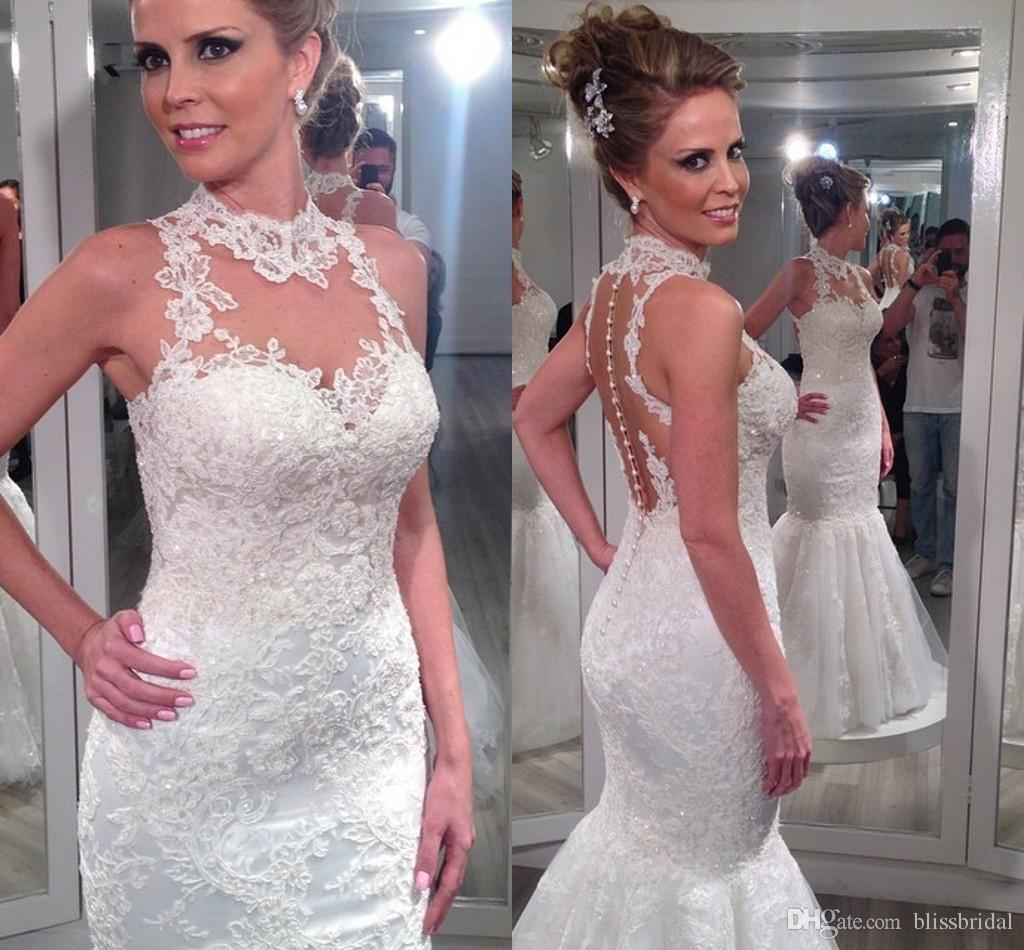 Gorgeous Mermaid Lace Wedding Dresses Halter Hollow Backless Bridal Gowns  Floor Length Slim Fit Sexy Appliques Wedding Gowns 2015 Summer Mermaid Lace  ... 20e961902bc9