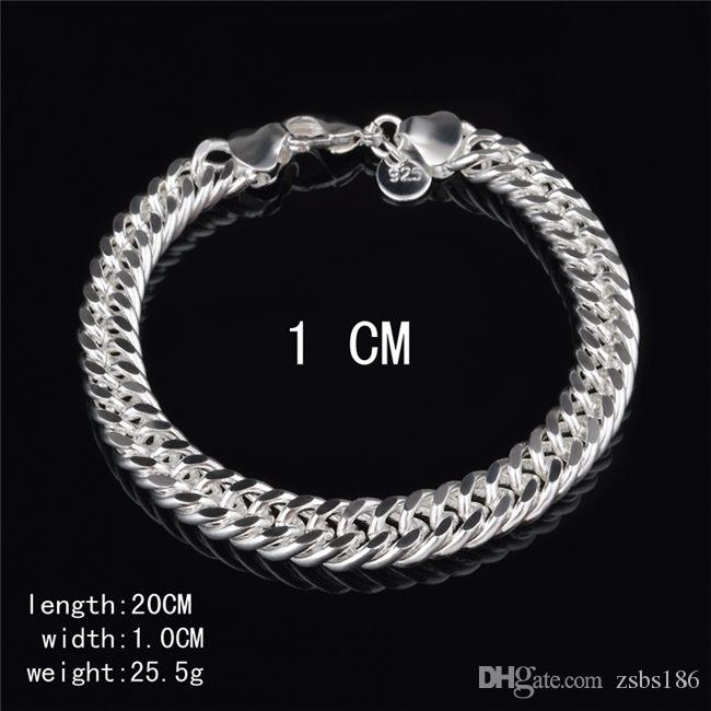 2015 New Design 6MM 8MM 10MM 925 Sterling silver Figaro chain bracelet Fashion Men's Jewelry Top quality