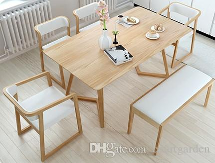 nordic dining table walnut 2018 nordic white wax wood real dining table chair combination of the original color wiht four and one bench from courtgarden