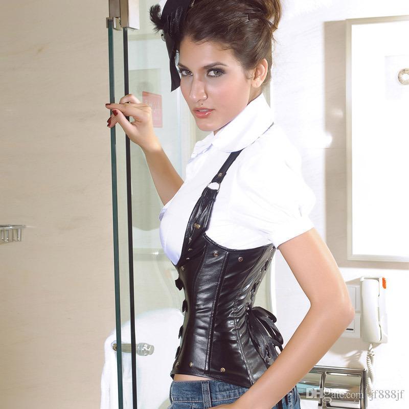 Hot Sexy Clubwear Plus Size Underbust Corset Faux Lederen Gothic Corset 3 Kleuren Wit Zwart Rood S-XXL