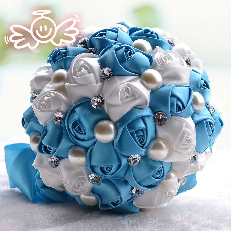 2019 Luxury Bridal Wedding Bouquet Cheap Artificial Cream Fuchsia Blue Bridesmaid Flower Crystal Pearl Silk Rose Wedding Decoration In Stock