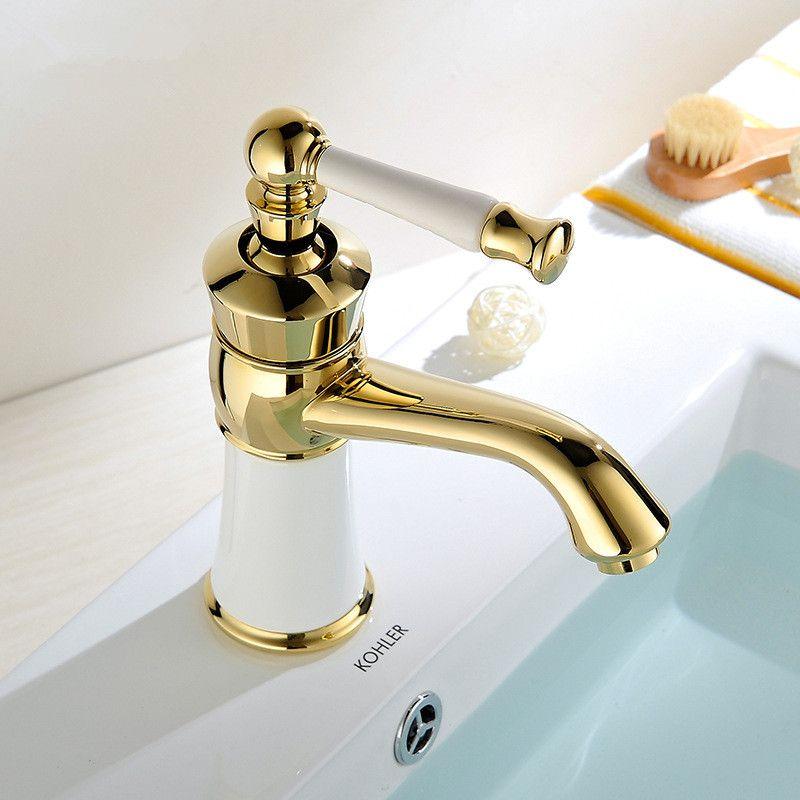 Toptan ve perakende ücretsiz kargo yeni high-end Avrupa altın zirkonyum seramik havza musluk koltuk tipi tek aşamalı havza musluk