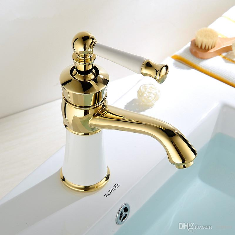 Wholesale and retail The new high-end European gold zirconium ceramic basin faucet seat type single stage basin faucet