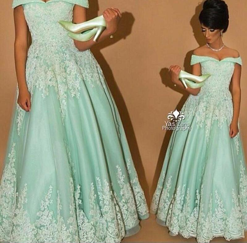 Mint Arabic Dresses Evening Gowns Lace A Line off Shoulder Sleeveless Zip Back Floor Length Mother Of The Bride Dresses New