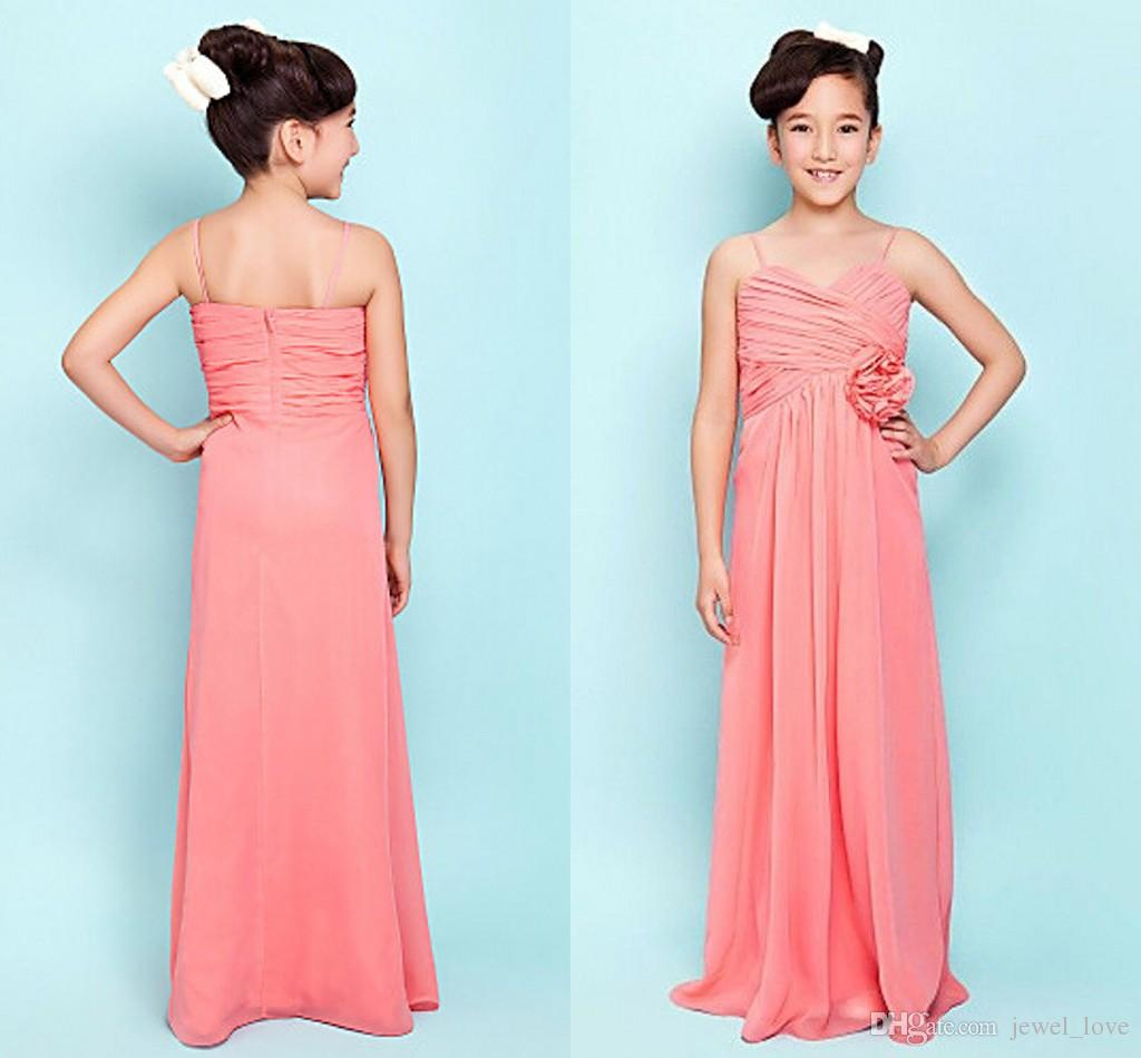 2015 coral junior bridesmaid dresses spaghetti pleats chiffon long 2015 coral junior bridesmaid dresses spaghetti pleats chiffon long floor length hand made flower backless custom made cheap girls dresses eggplant ombrellifo Image collections