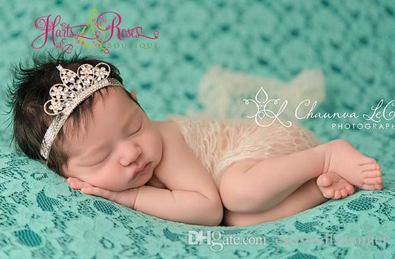 diamond Crown Baby Headband Princess Infant Crystal Diamond Pearl Tiara Crown Head Strap Elastic Hairband Children Jewelry Accessory