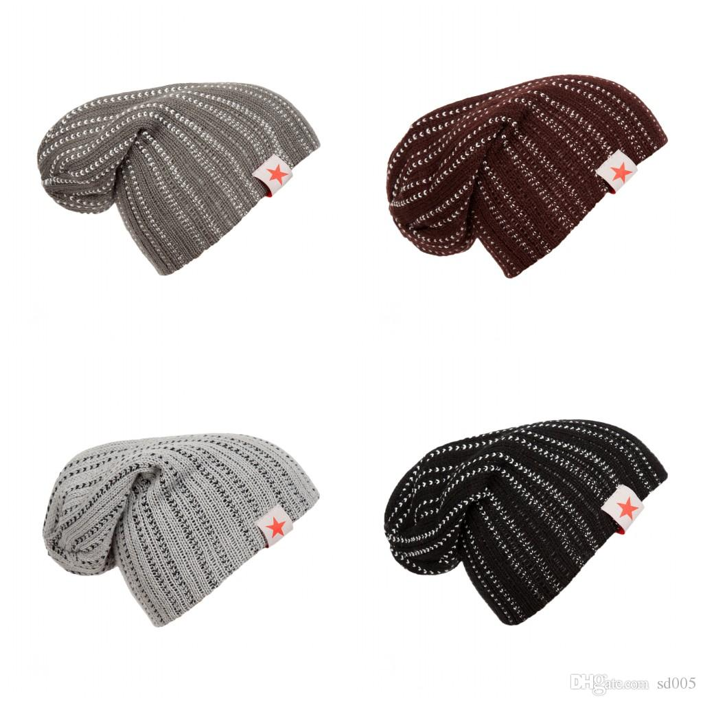 Plain Weave Skull Caps Embossing Wool Knitting Men And Women Hat Five  Pointed Star Label Double Stripes Beanies Hot Sale 8 5lz B Baseball Hats  Winter Hat ... 0a6be1530ec5
