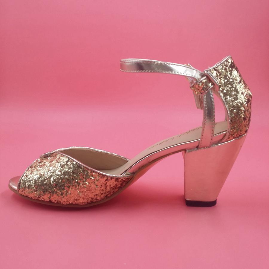47812cc7319b Fashion Gold Black Glitter Wedding Shoes Sequins Bridal Shoes Ankle Straps  Women Sandals Chunky Heel Large Size Sandal 3.5 High Heel Wedge Heels  Online ...