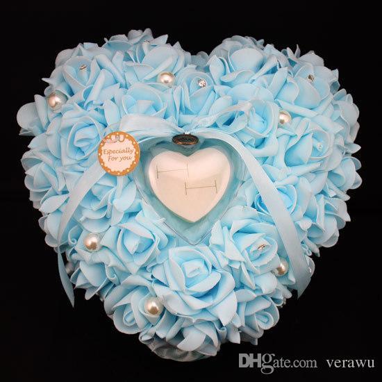 Белый / слоновая кость / Розовый Романтический Элегантный Rose Венчание благоволит Heart Shaped Box кольцо подушки Подушка Декор Дешевые Свадебные подарки