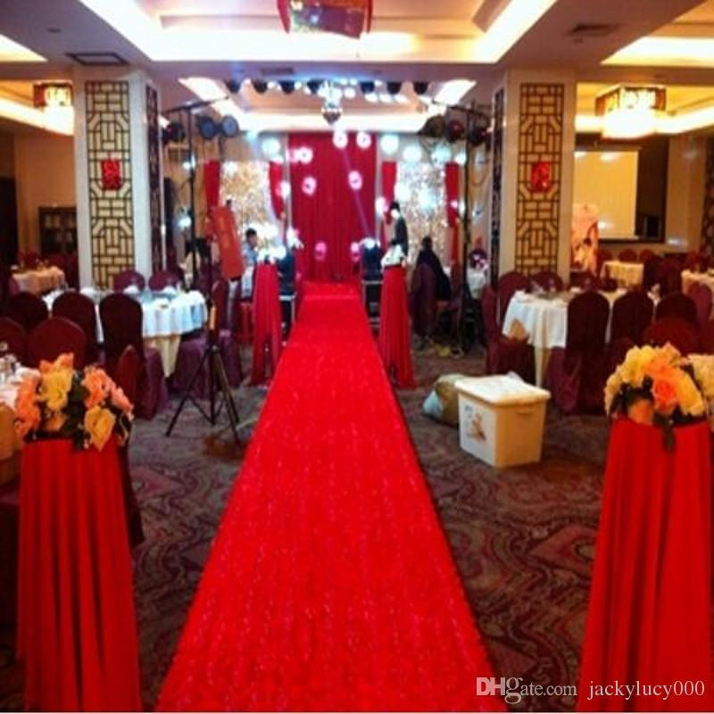 Fashion Red 3d Rose Petal Aisle Runner Carpet 1 4m Wide 10 Mwedding