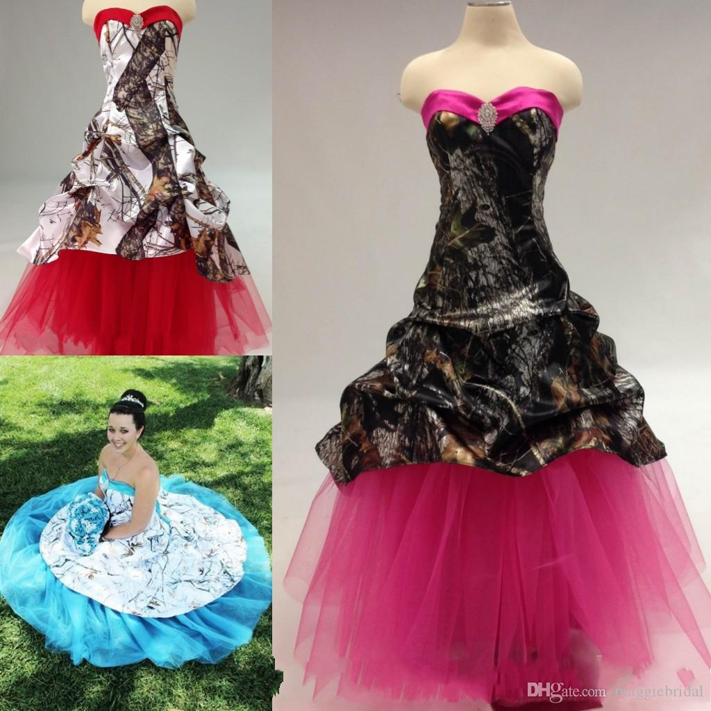Vintage Colored Camo Wedding Dresses New Arrivals Pink Blue Red Ball Gowns Gothic Victorian Bridal Dress Custom Make Inexpensive