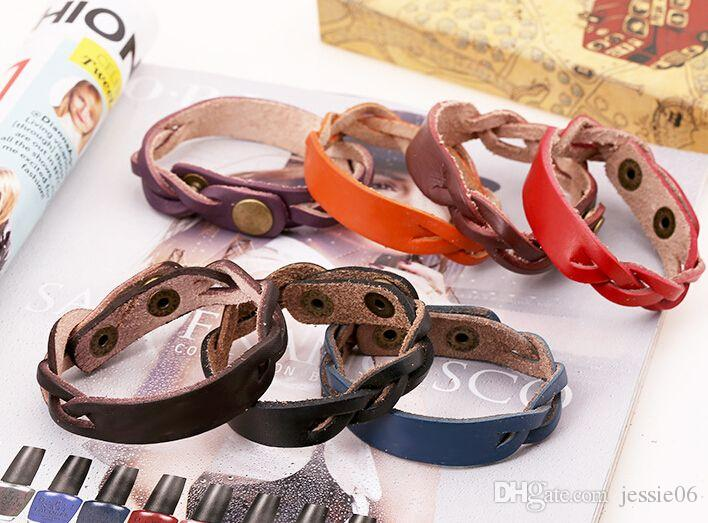 I braccialetti fatti a mano del cuoio genuino dell'annata braccialetti di modo delle donne degli uomini identificano l'identificazione del braccialetto il regalo di festa del braccialetto dei monili di fascino del braccialetto