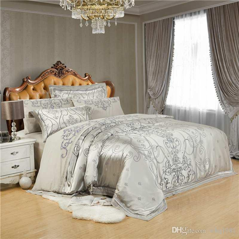 Silver Grey Silk Satin Jacquard Bedding Sets Luxury For