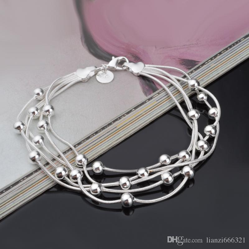 Livraison gratuite avec numéro de suivi Top Vente Bracelet en argent 925 Chaîne de serpent de perles légère Bracelet Bijoux en argent / pas cher 1793
