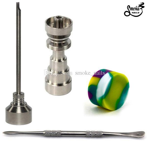 Ferramenta Bong Set 10/14/19 milímetros Domeless Gr2 Titanium prego Carb Cap Dabber Slicone Jar para Bongo de vidro cachimbos de água transporte livre