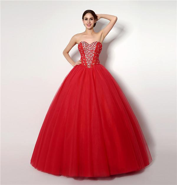 In Stock Hot New Modest Red Princess Style Wedding Dresses With ...