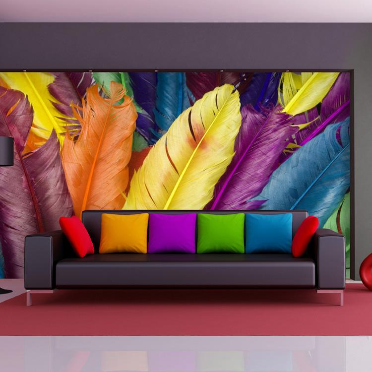 Background Colorful Room: Colorful Feather Wall Mural 3D Photo Wallpaper Fashion
