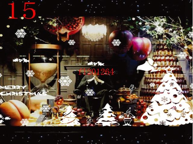 Christmas Wall Stickers the windows cabinet stickers Without glue electrostatic incognito stickers
