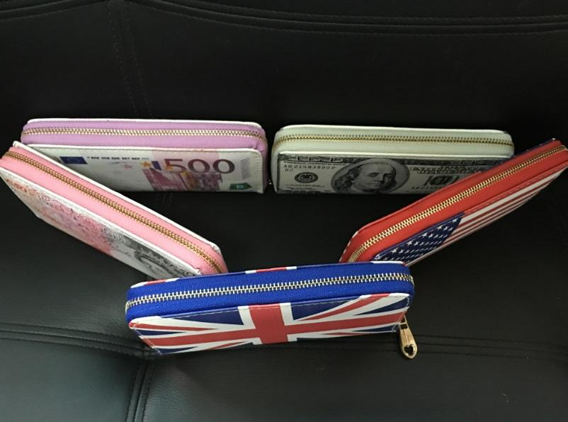 Yeni Yaratıcı 500 EURO / 50 £ / 100 Dolar / ABD ulusal bayrak Bill Para PU Cüzdan için adam ve kadın Banka kartı tutucu Çanta Carteira Hediye