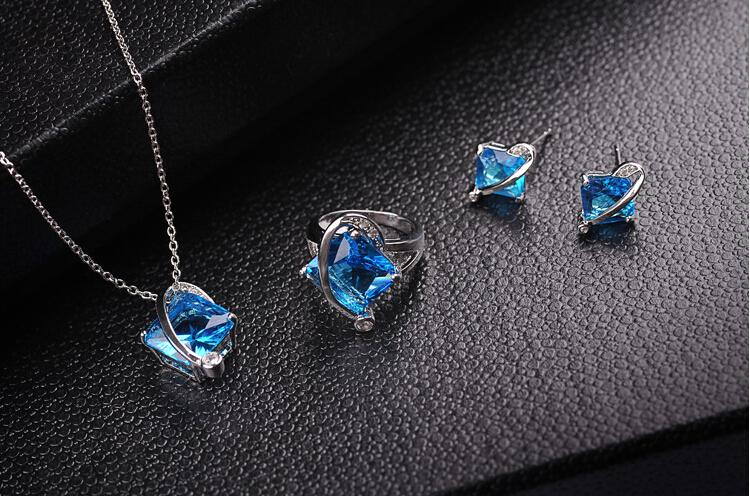 Classic Blue Necklace Earrings Rings Sets Luxurious Square Crystal Jewelry For Wedding Jewelry Sets Women Best Gift 1406