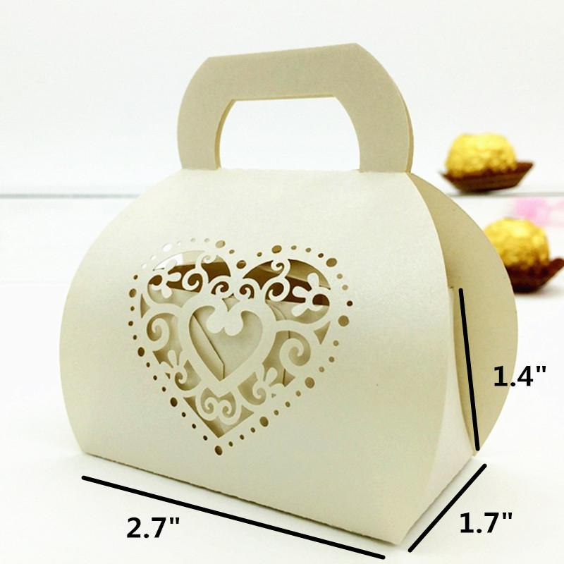 Wedding engagement bridal shower party favor boxes heart laser cutting candy box gift box party supply