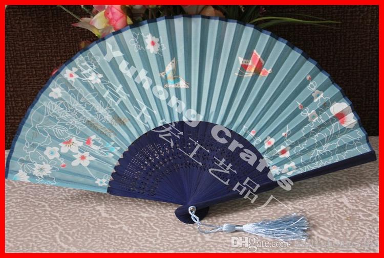 high quality handmade Bamboo Frame artificial silk fabric folding fan with butterfly & flower design assorted colors